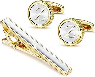 LOLIAS Mens Cufflinks Tie Bar Clip Set Alphabet Letter Cufflinks Formal Business Wedding Shirts A-Z Gift Box