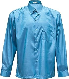Panashop Men's Casual Long Sleeve Shirts Thai Silk