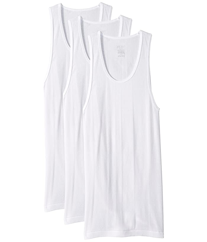 2(X)IST  3-Pack Essential Athletic Tank Top (White New Logo) Mens Underwear