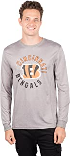 Ultra Game NFL Cincinnati Bengals Men's Athletic Quick Dry Long Sleeve Tee Shirt, Small, Gray