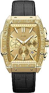 JBW Luxury Men's Echelon J6379 0.28 ctw 28 Diamond Wrist Watch with Genuine Croc Leather Bracelet, 41mm