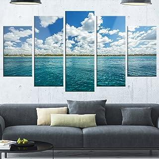 Designart Fluffy Clouds Over Sea-Oversized Beach Glossy Metal Wall Art, 32'' Hx60'' Wx1'' D 5PD, Blue/White