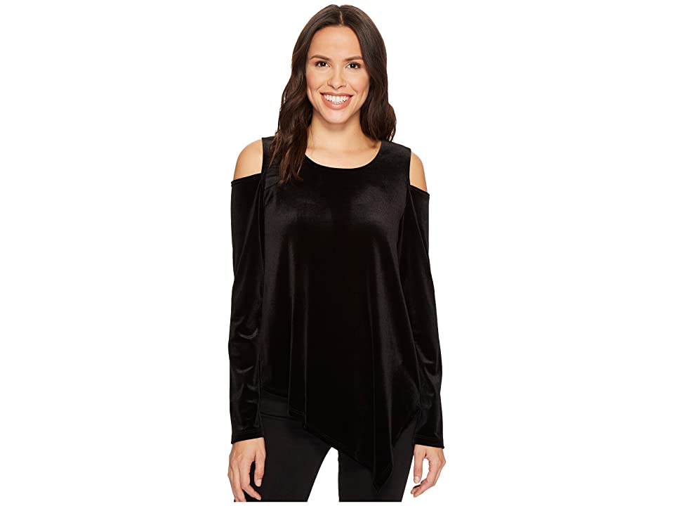 Karen Kane Cold Shoulder Asymmetric Hem Top (Black) Women