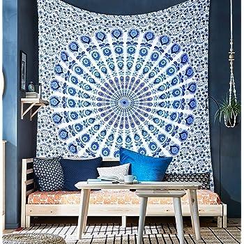 Tapiz indio azul Mandala, para colgar en la pared, colcha de algodón: Amazon.es: Hogar