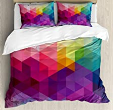 Ambesonne Rainbow Duvet Cover Set Queen Size, Colorful Abstract Geometric Pattern with Triangles Polygon and Other Shapes Rainbow, Decorative 3 Piece Bedding Set with 2 Pillow Shams, Multicolor
