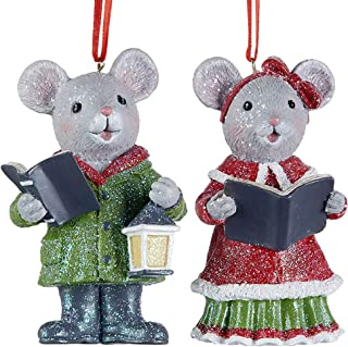 Sparkle Red Green Mouse Caroler 3.5 x 2 Polyresin Decorative Christmas Ornament, Set of 2