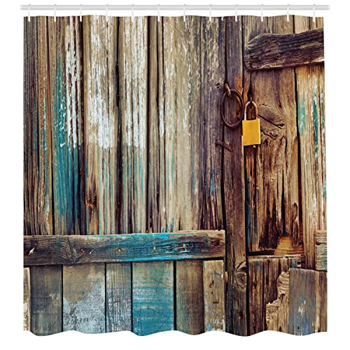 Ambesonne Rustic Shower Curtain, Aged Shed Door Backdrop With Color Details  Country Living Exterior Pastoral
