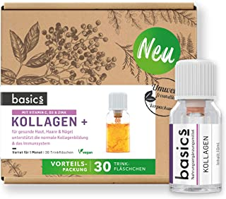 basics Kollagen  Komplex Monatskur, 30 x 10ml Fläschchen - mit hochdosiertem Kollagen Hydrolysat, Vitamin C, Biotin und Zink für den Erhalt von schöner Haut, Haar und Nägeln