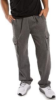 Men's Fleece Cargo Sweatpants Relax Fit with Drawstring Open Bottom