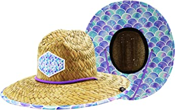 Kids Girls Youth Sun Hat Straw Hat Mermaid Scales with Fabric Print, UPF50+ Sun Hat Breathable Straw Bucket Hat