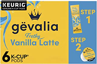 Gevalia Vanilla Latte Espresso Coffee with Froth Packets, K-Cup Pods, 6 Count
