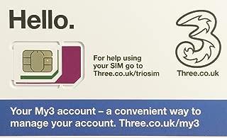 United Kingdom with 42 countries - Three SIM Card with £20 Credit 300min+300texts+12GB data (Europe Prepaid Sim) 42 Destinations!