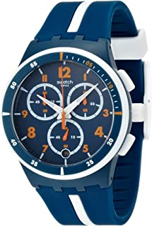 Swatch Whitespeed Quartz Watch with Silicone Strap, Blue, 21 (Model: SUSN403)