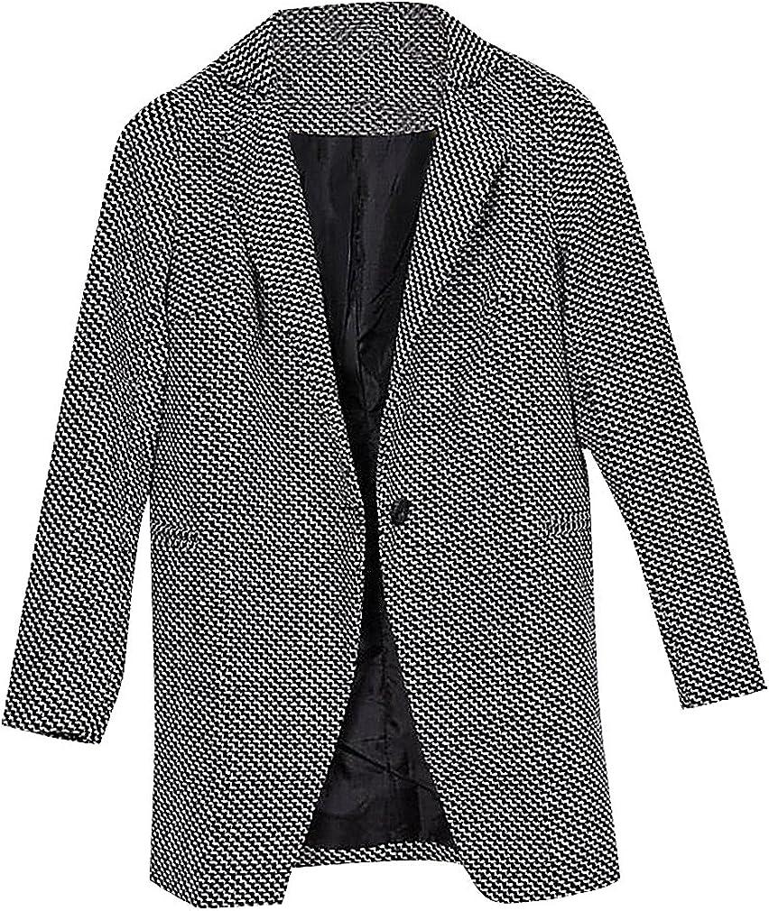 US&R Women Gray Striped 1 Button Full Sleeve Turndown Collar Cashmere Coat