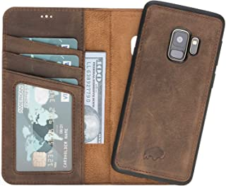 Burkley Case Magnetic Detachable Leather Wallet Folio Case with Snap-on Cover for Samsung Galaxy S9, Hand-Wrapped in Premium Turkish Leather (Antique Coffee)