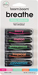 Aromatherapy Nasal Inhaler (5 Pack) by BoomBoom | Boosts Focus + Enhances Breathing | Provides Fresh Cooling Sensation | Made with Essential Oils + Menthol (All 5 Flavors)