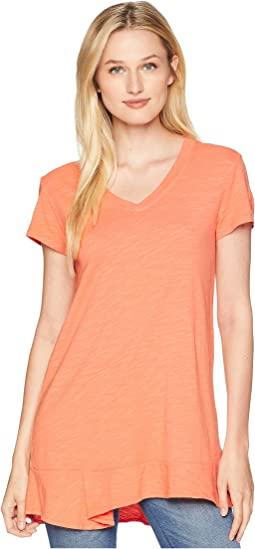 Slub Jersey Easy Short Sleeve V-Neck Tee with Peplum Hem