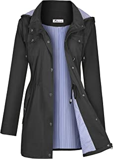 Rain Jacket Women Windbreaker Striped Climbing Raincoats Waterproof Lightweight Outdoor Hooded Trench Coats