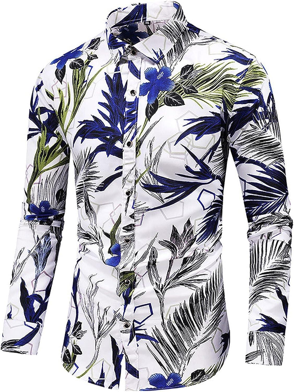 WOCACHI Hawaiian Shirts for Mens, Fall Button Down Long Sleeve Leaves Floral Print Slim Fit Casual Shirt Beach Tops