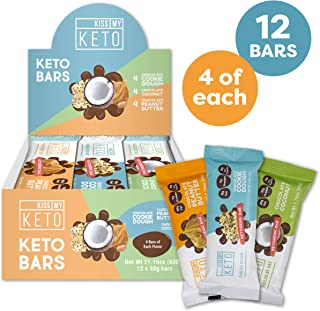 Keto Bars - Low Carb Protein Bars – A High Fat Keto Snack with only 3g Net Carbs [Keto Snacks Variety 12 Pack]