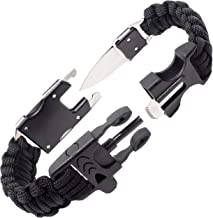 Steinbock7 Survival Armband Herren Accessoires – komplettes Outdoor Survival Kit: Survival Messer, Paracord Armband, Feuerstahl, Pfeife, Armband Verschluss auf 2 Seiten, Knüpfanleitung