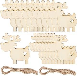 Pangda 20 Pieces Christmas Deer Reindeer Wooden Craft Ornament Hanging Pendant Decoration