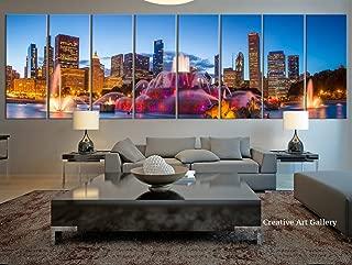 City Wall Art - 8 Panel Extra Large Chicago City Canvas Print, Large Chicago Night City Skyline Wall Art Canvas Print- 12x32 Inch Each Panel- 96x32 Inch Total
