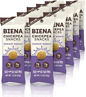 BIENA Rockin' Ranch Chickpea Snacks | Gluten Free | Vegan | Dairy Free | Plant-Based Protein (10 Count Snack Pack) (Packaging May Vary)