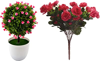 Fourwalls Artificial Topiary PVC Bonsai Plant in A Melamine Pot(23 cm Total Height, Pink) + Artificial Synthetic Azalea Flower Bunch (11 Branches, Light Pink, 46 cm)