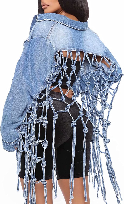 FANTASYSKINS Women's Hollow Out Cropped Denim Jacket Casual Long Sleeve Back Grid Tassel Fringe Hem Jeans Coats Outerwear