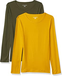 Amazon Essentials Women's 2-Pack Slim-Fit Long-Sleeve Crewneck T-Shirt