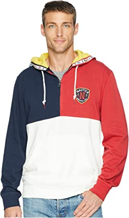 Color Blocked 1/4 Zip Pullover Hoodie