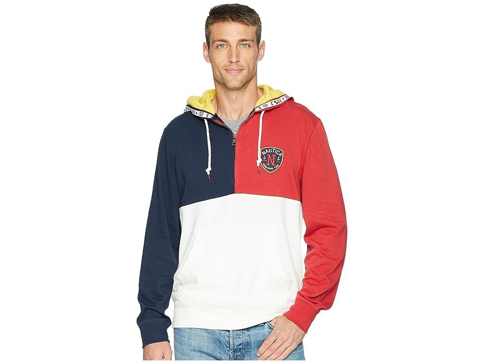 Nautica Color Blocked 1/4 Zip Pullover Hoodie (Rescue Red) Men