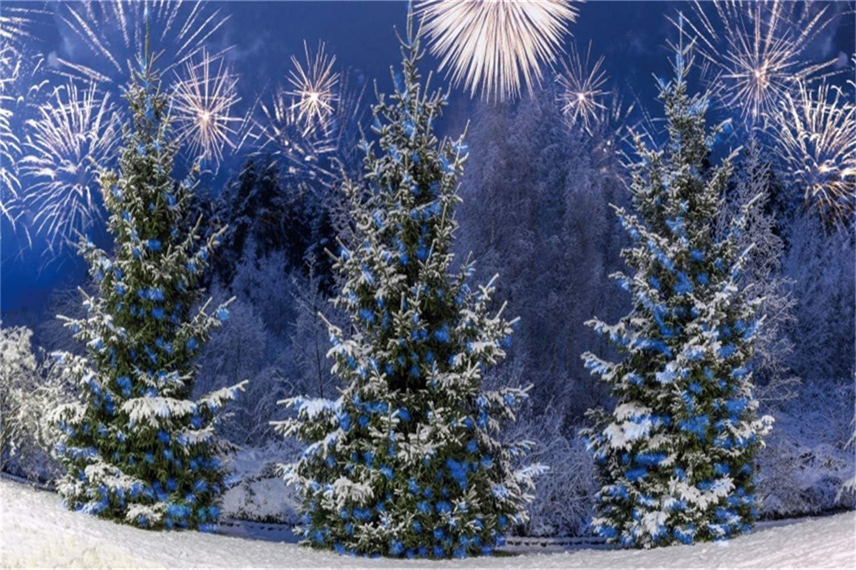 Leowefowa Dreamlike Bokeh Light Spots Snowy Pine Twigs Silver Glitter Backdrop for Photography 12x8ft Vinyl Christmas Photo Background Xmas Party Banner Child Adult Photo Shoot Wallpaper
