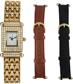 Peugeot Interchangeable Strap Crystal Pave Dial Gift Set Watch