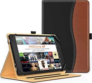 MoKo Universal Case for 9-10 Inch Tablet- Slim Folding Stand Folio Cover PU Leather Protective Case for 9-10 Inch Touchscreen Tablet with Document Card Slots and Stylus Pen Loop, Black & Brown