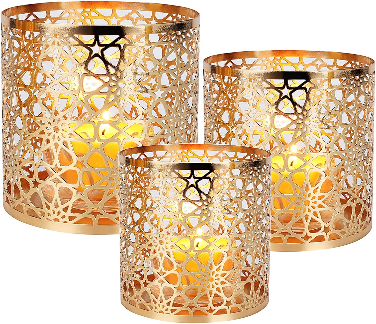Metal Tea Free shipping anywhere in the nation Light Candle Holders Set of Champagne Hurrican favorite Gold 3