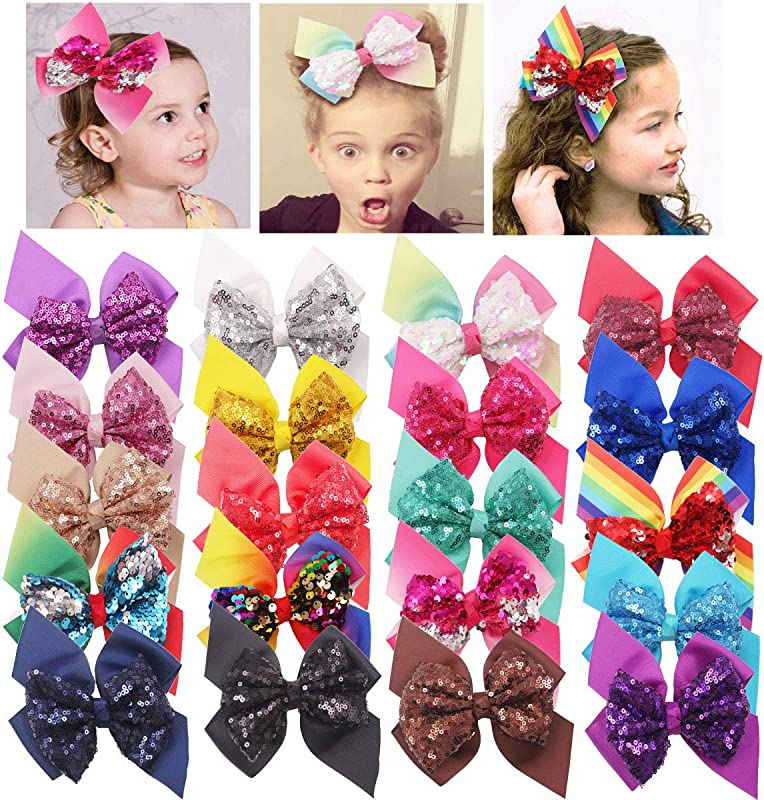 DeD 20 Pieces Sequins Hair Bows Clips 6 Inch Glitter Reversible Sequins With Ribbon Bow For Baby Girls Teens Kids Toddlers