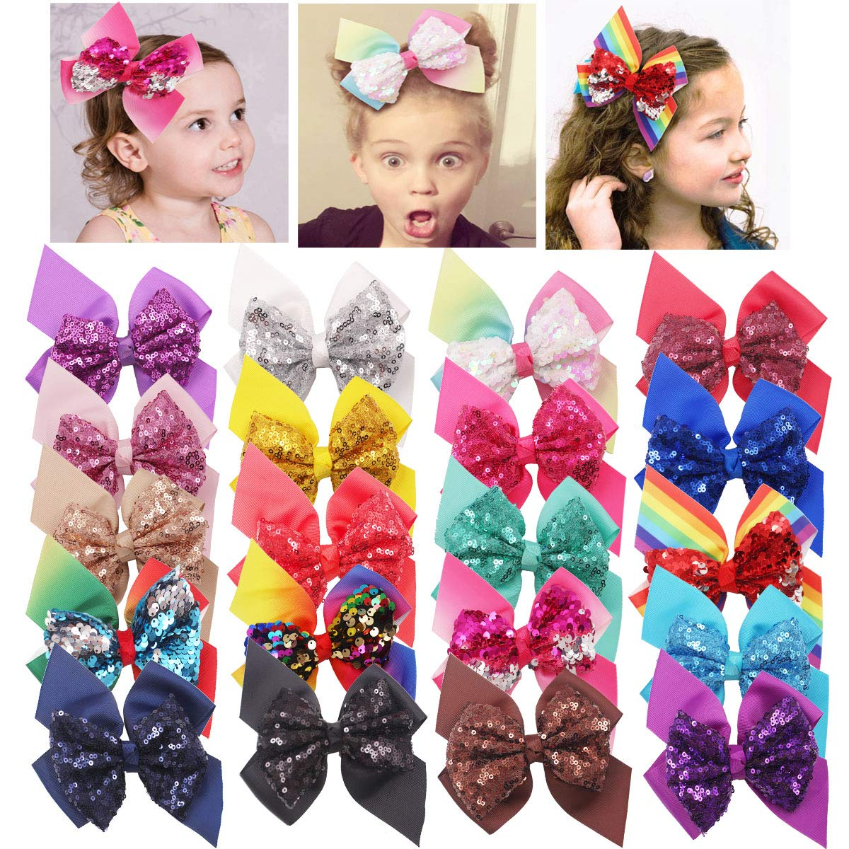 DeD 20 Pieces Sequins All items free shipping Hair Bows Reversible Phoenix Mall Inch Clips Glitter 6