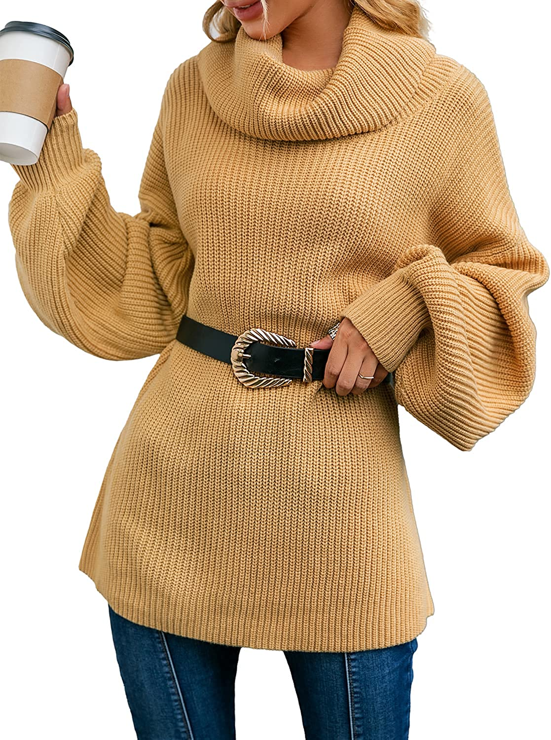 Simplee Women's Oversized Cowl Neck Lantern Long Sleeve Knit Pullover Sweater