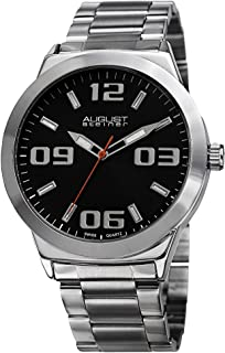 August Steiner Men's Minimalist Dress Watch - Dial with Big Number Hour Markers + Bonus Second Hand on Stainless Steel Bracelet