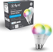 GE Lighting C by Full Color Direct Connect Smart LED Bulbs (2 A19 Color Changing Light Bulbs), 60W Replacement, 2-Pack, Sm...