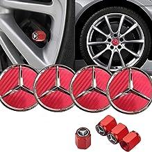 Sparkle-um 8-Piece Set 75mm Mercedes Benz Emblem Badge Wheel Hub Caps Centre Cover with Carbon Fiber Texture Finish+Tire V...