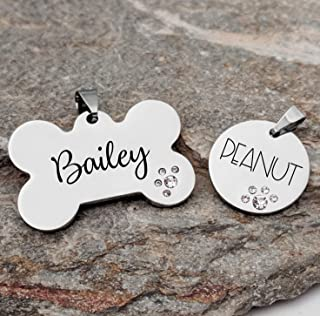 18683adb1334 Pet ID Tag Custom Engraved Bone OR Circle with rhinestones - Choose your  font - DOUBLE