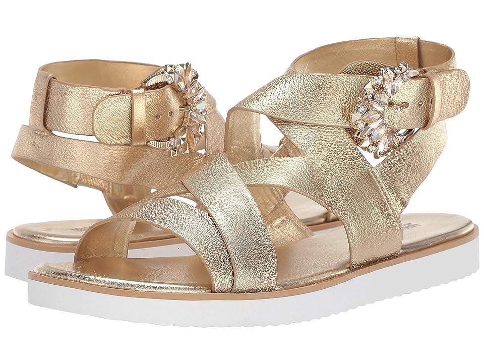 MICHAEL Michael Kors Frieda Flat Sandal (Pale Gold Metallic Nappa) Women's Shoes