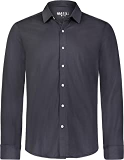 Barbell Men's Athletic Flex Fit Long Sleeve Button Down Dress Shirt