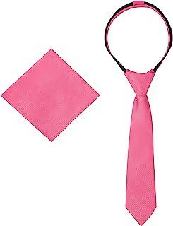 Ties For Boys - Necktie & Pocket Square - Pre-Tied Woven Kids Zipper Tie, School Uniforms Wedding