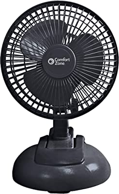 "Oscillating House Fan by Comfort Zone. 2-Speed Options for Optimal Air Flow. Clip-On or Desktop, Adjustable Head, Room Fan. 6"" Fan in Glossy Black."