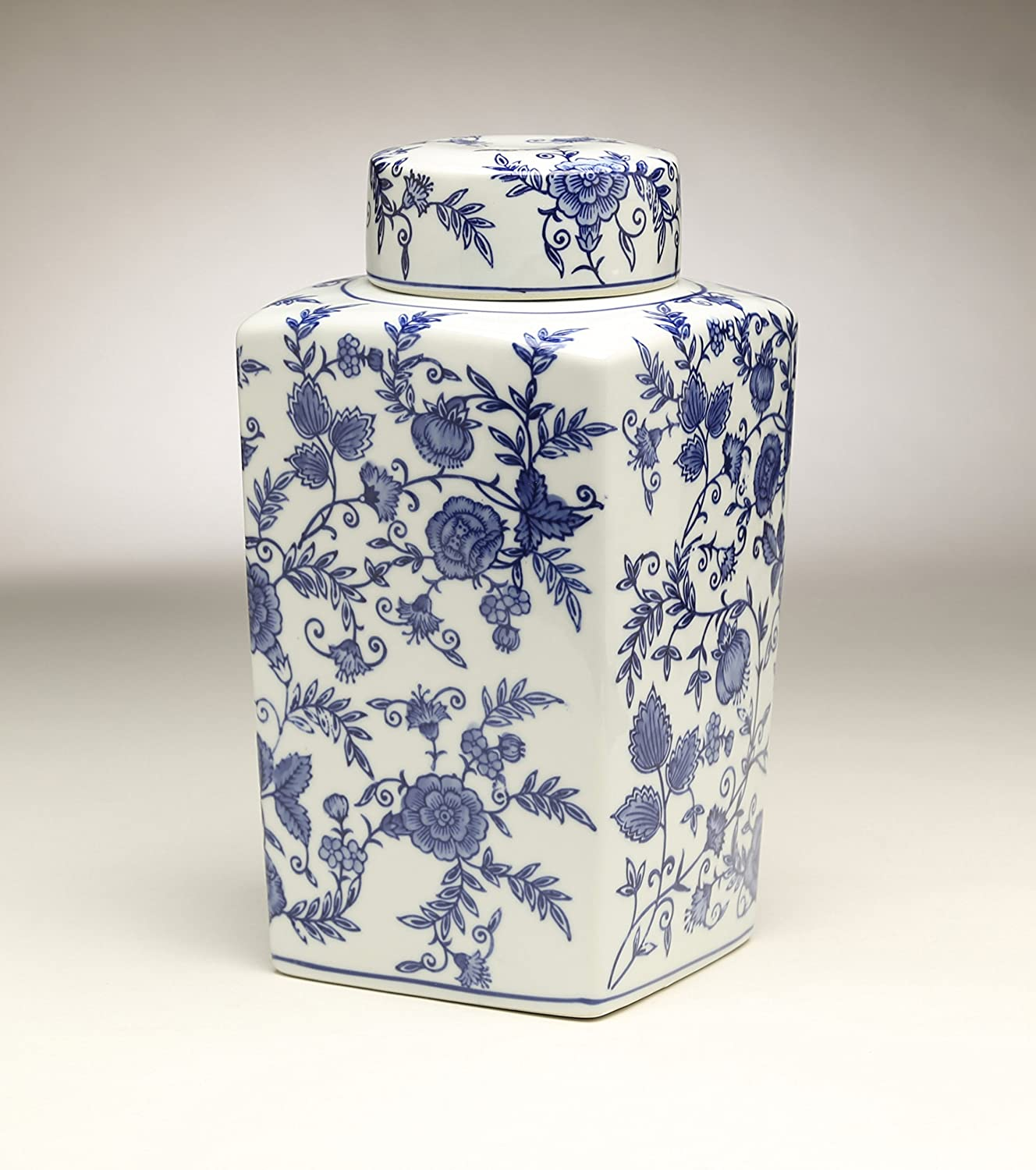 AA Importing 59950 12 Inch Indianapolis Mall Jar White Mail order cheap Square Blue