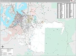 MarketMAPS Tacoma, WA Metro Area Wall Map - 2018 - ZIP Codes - Laminated - 64W x 48H inches